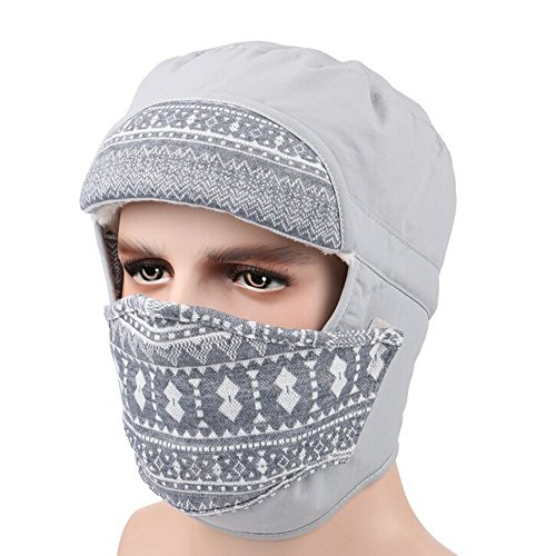 Ezyoutdoor Unisex Windproof Fleece Warm Winter Beanie Trapper Hat Hunting Hat Ushanka Ear Flap with Chin Strap and Mask Double Use for Outdoor Sport Ski Hat Cycling Motorbike,One Size Fit Most (Gray)