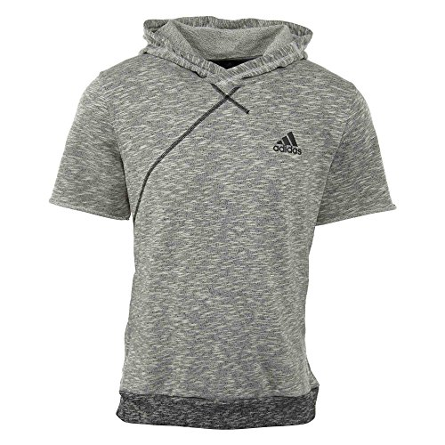 adidas Men's Basketball Cross Up Short Sleeve Hoodie, Chalk White, Medium (Shorts Terry Hooded)