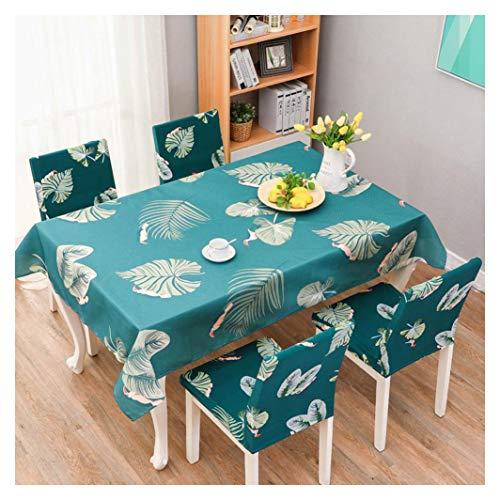 GUOCU Mantel Impermeable Antimanchas Algodon Lino Rectangular Decorativo Mantel de Mesa para Cocina Comedor Fiesta Mantel Silla Juego de Tela Hoja Dos Fundas para sillas