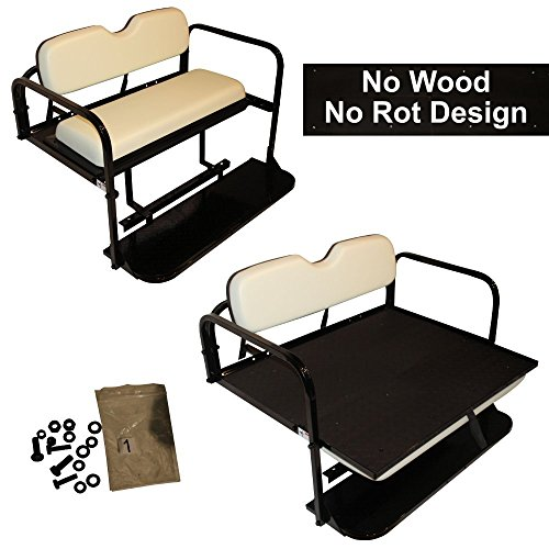 Club Car Precedent Golf Cart Rear Flip Folding Back Seat Kit, 2004 and Up - All Factory Colors (White Cushions) (Club Car Back Seat Flip Up)