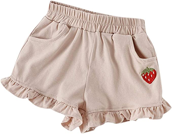 Horses Organic Cotton Kids Boys Summer Shorts with Elastic Waist