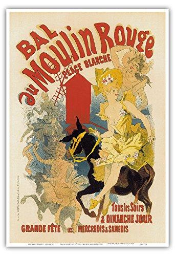 Moulin Rouge Casino - Pacifica Island Art - Bal au Moulin Rouge Paris France - Vintage Cabaret Casino Poster by Jules Chéret c.1893 - Master Art Print - 13in x 19in