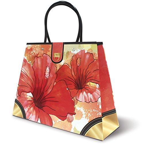 Hawaiian Themed Heavy Paper Gift Purse Handbag Bag (Hibiscus Watercolor) Hibiscus Purse