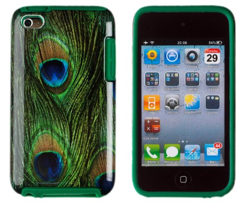 DandyCase 2in1 Hybrid High Impact Hard Peacock Pattern + Green Silicone Case Cover For Apple iPod Touch 4 4G (4th generation) + DandyCase Screen Cleaner