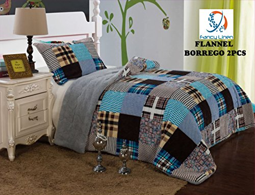 Fancy Collection 2pc Twin Size Blanket Sumptuously Soft Plush with Sherpa Striped Brown Blue Beige Winter Blankets Bedspread Super Soft #007 (Twin Beige Bedspread)