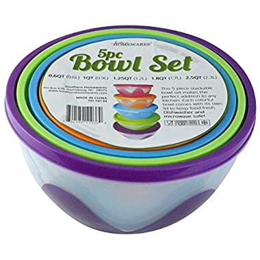 Southern Homewares 5 Piece Nested & Stackable Bowl/Food Storage Containers, Multicolor