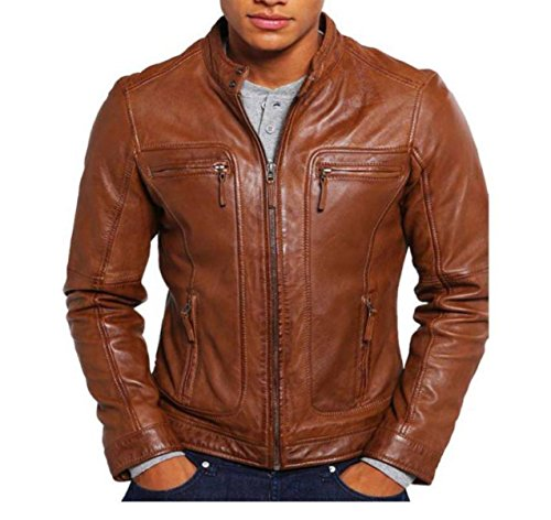 KYZER KRAFT Mens Leather Jacket Bomber Motorcycle Biker Real Lambskin Leather Jacket for Mens Tan