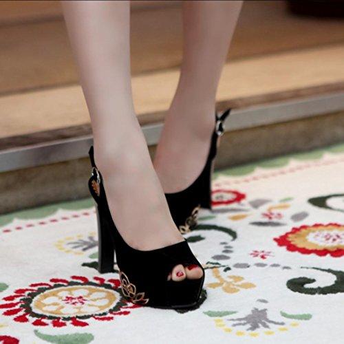 Mujer-Tacón Stiletto Plataforma-Plataforma Confort Zapatos del club-Tacones-Boda Fiesta y Noche Informal-Vellón-Negro Azul Rojo Beige Black