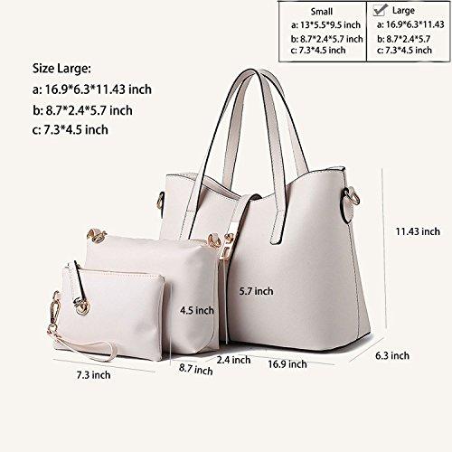 Sifini Bag Pu shoulder Fashion Leather Beige 4pcs Tote card Set Handbag purse Handbag Women Holder rBwYpr