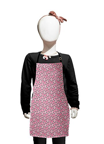 Lunarable Floral Kids Apron, Abstract Daisies on Pink Background Leaves Cute Fancy Girls Room Design, Boys Girls Apron Bib with Adjustable Ties for Cooking Baking and Painting, Pale Pink Black -