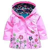 Arshiner Girl Baby Kid Waterproof Hooded Coat Jacket Outwear Raincoat Hoodies 2-9 Y,Pink,90(Age for 1-2Y)