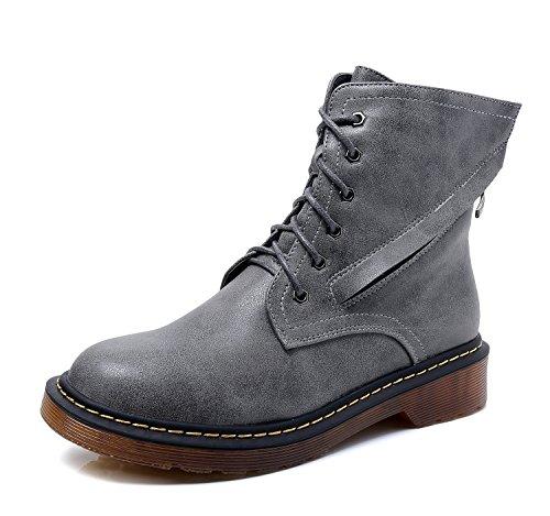 Minotta HH222-6 Women's Anti-Skid Comfort Walking Shoes Ladies PlUK Ankle Martin Boot Grey APVYU88sD
