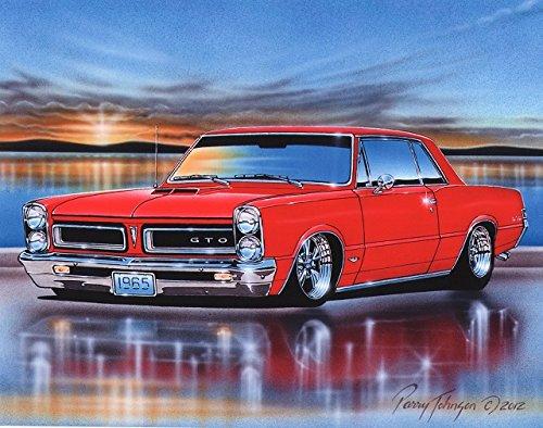 1965 Pontiac GTO Hardtop Muscle Car Art Print Red 11x14 (1965 Muscle Cars)