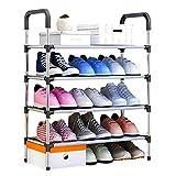 UDEAR Shoe Rack Storage Organizer 4-Tier Portable Adjustable Shoes Shelf Tower (Black)