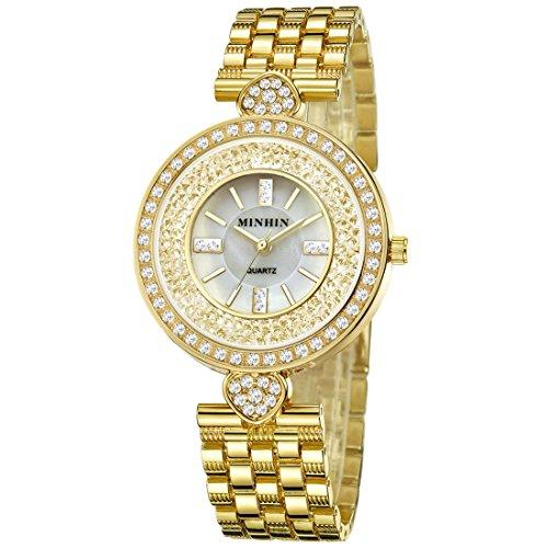 20 Womens Watch Diamonds (MINHIN Iced-out Shinning Wrist Watch Rhinestone with Heart Shell Watch (Gold))