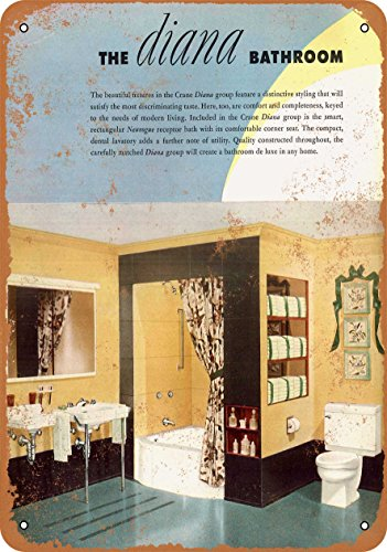 Wall-Color 10 x 14 Metal Sign - 1930 Crane Diana Bathroom Fixtures - Vintage Look