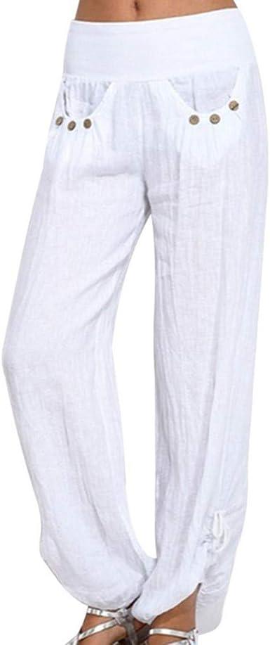 Botones Lisos Para Mujer Pantalones Sueltos De Algodon Y Lino Pantalones Flojos De Festivo Pierna Ancha Pantalones Haren Pantalones Con Globos Pantalones Aladdin Pantalones Haren Pantalones De Verano Amazon Es Ropa Y Accesorios