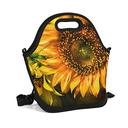 Milr Gile Custom Lunch Box Dramatic Sunflower Wallpaper Resuable Insulated Thermal Tote Lunch Bag