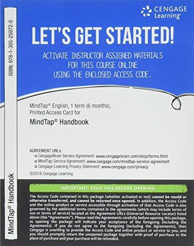 MindTap English Handbook, 1 term (6 months) Printed Access Card (MindTap Course List)