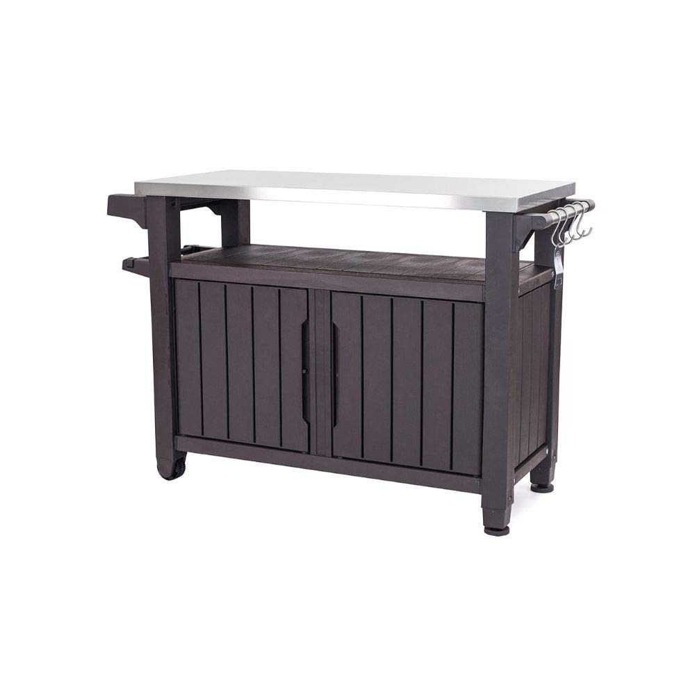 OA TSR Metal Barbecue Table, Outdoor Utility Table, Serving Table Cart, BBQ Serving Cart with E-Book by OA