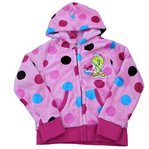 Tweety Girls Pink Polka Dot Hoodie Zip Front Fleece Sweatshirt Tweety Jacket - Hoodie Tweety