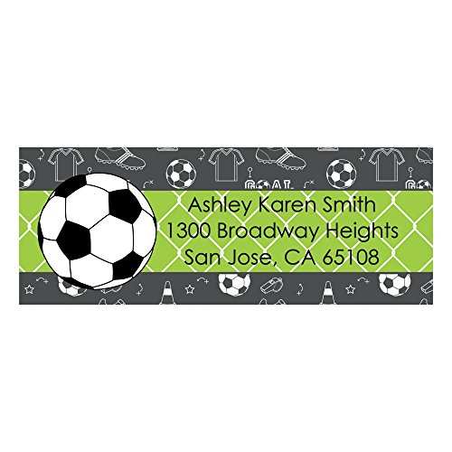 Custom Goaaal - Soccer - Personalized Baby Shower or Birthday Party Return Address Labels - Set of 30