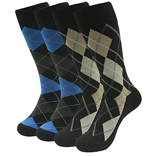 SUTTOS Mens Fashionable Elite Blue Yellow Blue Argyle Plaid Striped Mid Calf Moisture Control Long Tube Crew Dressy Socks,4 (High Five Blue Soccer Uniform)