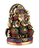 Large Ganesh Idol - Brass Statues with Gemstones Works - Hindu Goodluck God Lord of Prosperity & Fortune Sculptures