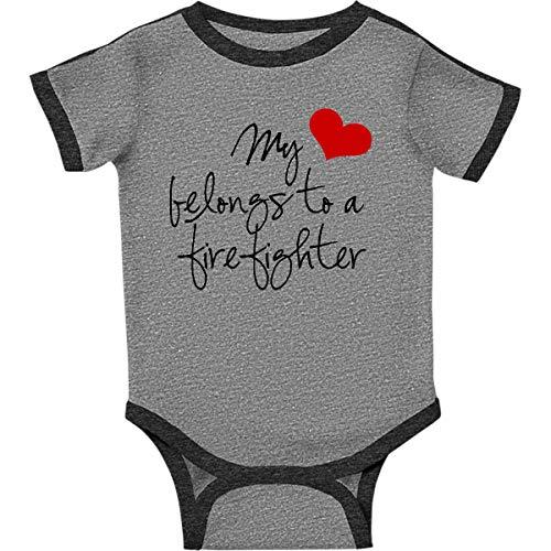 inktastic My Heart Belongs Infant Creeper Newborn Ringer Heather and Smoke