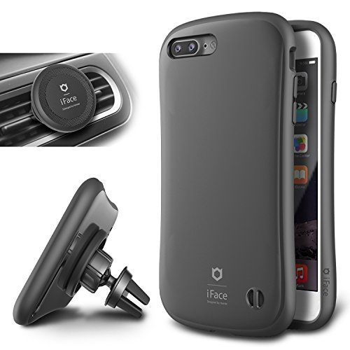 Price comparison product image iFace Duo Case and Magnetic Car Mount set for iPhone 7 Plus - 2 in 1 Rugged Military Grade Protective Case with Car Holder/Kickstand [Gunmetal Gray]