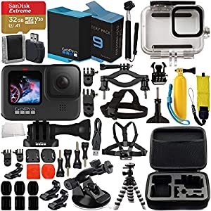 GoPro HERO9 Action Camera (Black) with Premium Accessory Bundle – Includes: SanDisk Extreme 32GB microSD Memory Card, Replacement Battery, Underwater Housing, Protective Case & More