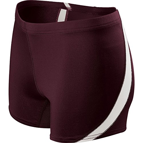 Holloway Women's Breakline Short, Dark Maroon/White, Large by Holloway