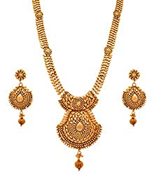 JFL - Traditional Ethnic One Gram Gold Plated Designer Long Necklace / Jewellery Set for Women & Girls. from JFL - Jewellery for Less