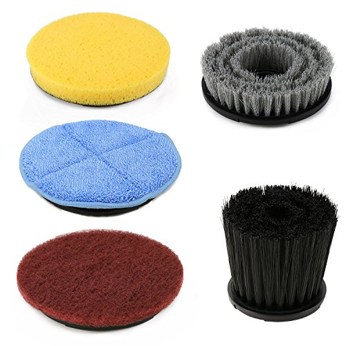 Spin Scrubber, EVERTOP Cordless Electric Power Scrubber with Extension Handle & 5 Replacement Scrub Brush Heads for Bathroom, Hardwood Floor, Swimming Pool (Replacement Cleaning Brushes)