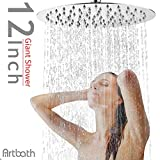Artbath 12 inch Rain Shower Head Extra Large Fixed Mount Rainfall Shower Head Ultra Thin Stainless Steel Showerhead Adjustable Swivel 1/2 Ball Joint Chrome Fnished
