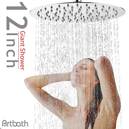 Artbath 12 inch Rain Shower Head Extra Large Fixed Mount Rainfall Shower Head Ultra Thin Stainless Steel Showerhead Adjustable Swivel 1/2 Ball Joint Chrome Fnished
