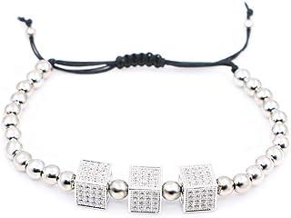 Bracciali Coppia perline in rame con bracciale zircone, argento