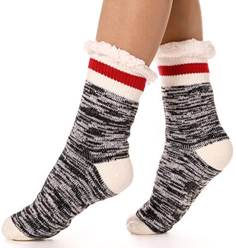 Socks Dot Fuzzy (Womens Fuzzy Slipper Socks Warm Knit Thick Heavy Fleece lined Fluffy Christmas Stockings Winter Socks (Black))