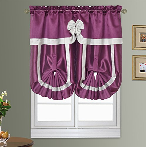 ROMAN ROMANCE. Short curtain set with bowknot and stripe dec