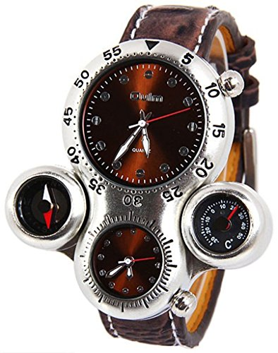 Fanmis Military Sport Analog Quartz Wrist Watch Compass and Thermometer Function Brown Leather Strap