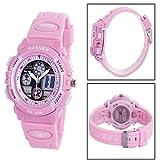 Digital-analog Boys Girls Sport Digital Watch with Alarm Stopwatch Chronograph (Child)Pink