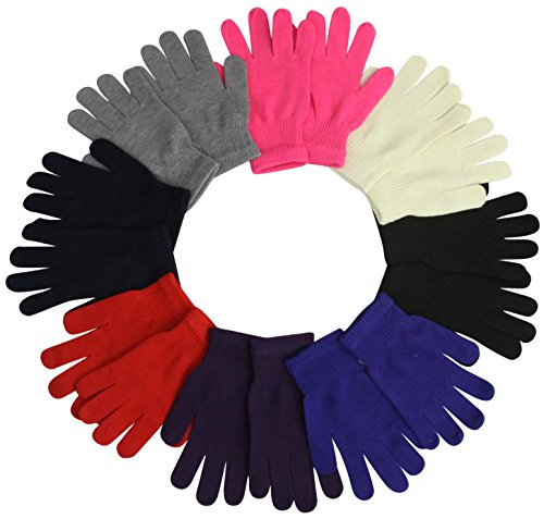 ToBeInStyle Women's Pack of 6 Assorted Polyester Magic Gloves - One Size (Gloves Magic 1)