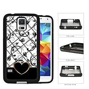 Black White Floral Pattern With Gold Outline Heart Shape Rubber Silicone TPU Cell Phone Case Samsung Galaxy S5 SM-G900