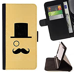 For Samsung Galaxy S6 EDGE (NOT S6) Case , Sombrero Monocle manillar Sir Amarillo- la tarjeta de Crédito Slots PU Funda de cuero Monedero caso cubierta de piel