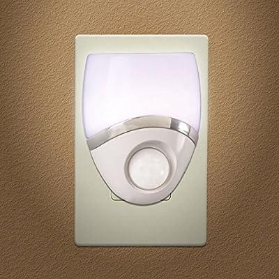 New 6 Pack - Night Light LED Plug In, Motion Sensor, White & Nickel