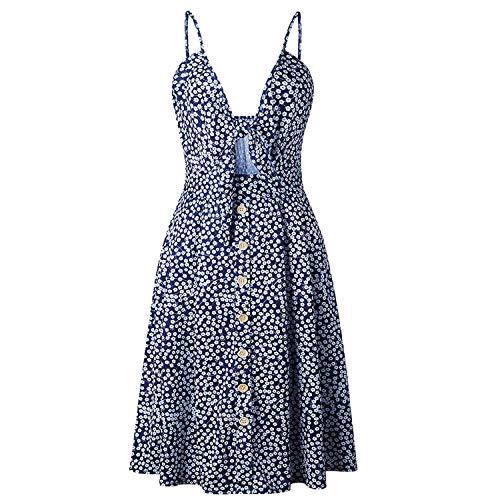 Kaured Unique Spaghetti Strapless Sleeveless V-Neck mid-Leg Dress Ladies Solid Color Elastic high Waist Vest,Large,Blue