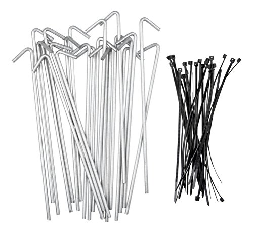 Stepton 50-Pack Galvanized Tent Stakes/Metal Pegs for Anchoring Tents, Landscape Fabric, Tarps, etc. 7.5-Inches Comes with 50 Cable Ties