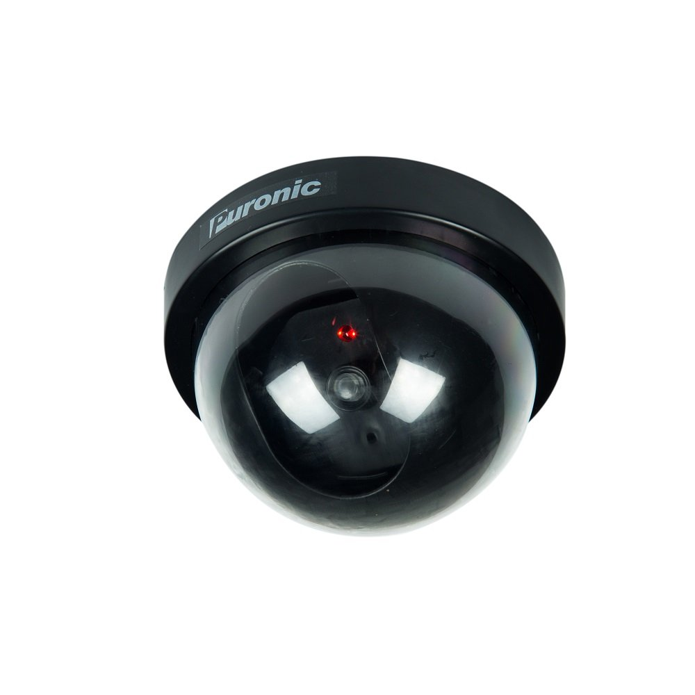 Bullet Dummy Fake Surveillance Security CCTV Dome Camera Indoor Outdoor with one LED Light + Warning Security Alert Sticker Decals (1 Pack Dome, Black) by Puronic
