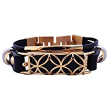 FitBit flex Jewelry - Fitbit Bracelet FUSION - stainless steel - real leather - Fitbit Flex replacement band - (Black Gold, L-XL (7.5-9 inch))