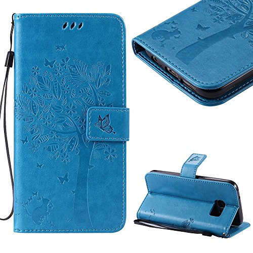 Tree Embossed Seals - Cistor Samsung Galaxy S7 Case,Creative Blue Embossed Tree Cat Butterfly Strap Wallet Case for Samsung Galaxy S7,Shockproof PU Leather Stand Flip Case with Magnetic Clasp Card Slot Free Ring Holder